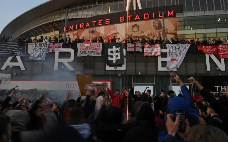 Photo op: Arsenal fans protested against the Super League in front of the club's Emirates Stadium