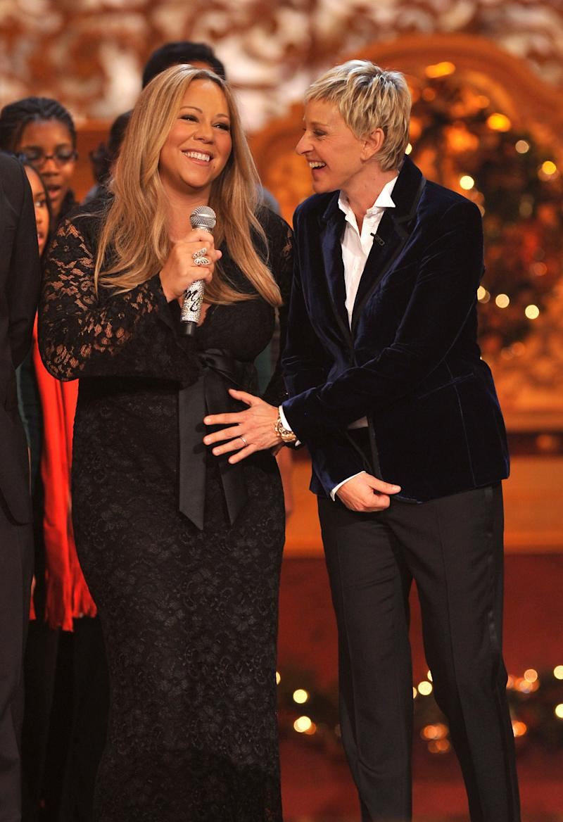 "(EXCLUSIVE, Premium Rates Apply) (EXCLUSIVE COVERAGE) Mariah Carey and Ellen DeGeneres perform onstage during TNT's ""Christmas in Washington 2010"" at the National Building Museum on December 12, 2010 in Washington, DC. ""Christmas in Washington 2010"" airs on TNT December 17 at 8pm. 20792_003_0257.JPG"