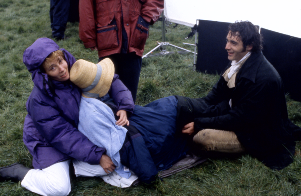 Emma Thompson, Kate Winslet and Greg Wise on the set of