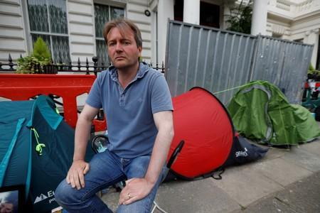 FILE PHOTO: Richard Ratcliffe, the husband of jailed British-Iranian aid worker Nazanin Zaghari-Ratcliffe, outside the Iranian Embassy in London