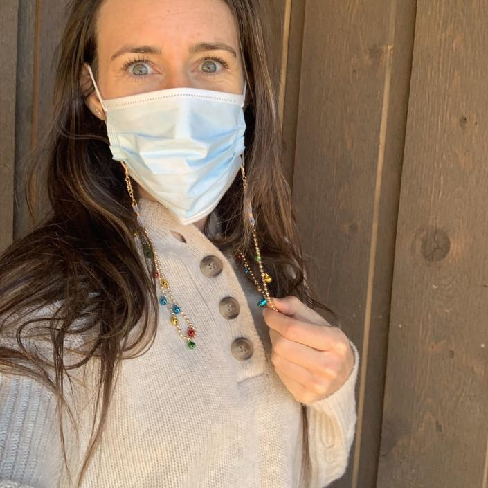 wearing my lanyard to dress up my plain surgical mask (Katie Jackson / TODAY)