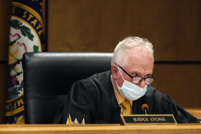 Judge William Lyons speaks, Monday, April 12, 2021, in Manchester, N.H. District Court, during a video bail hearing for Gordon Searles in connection with sexual abuse allegations at the Sununu Youth Services Center, a state-run youth detention center. (AP Photo/Elise Amendola, Pool)