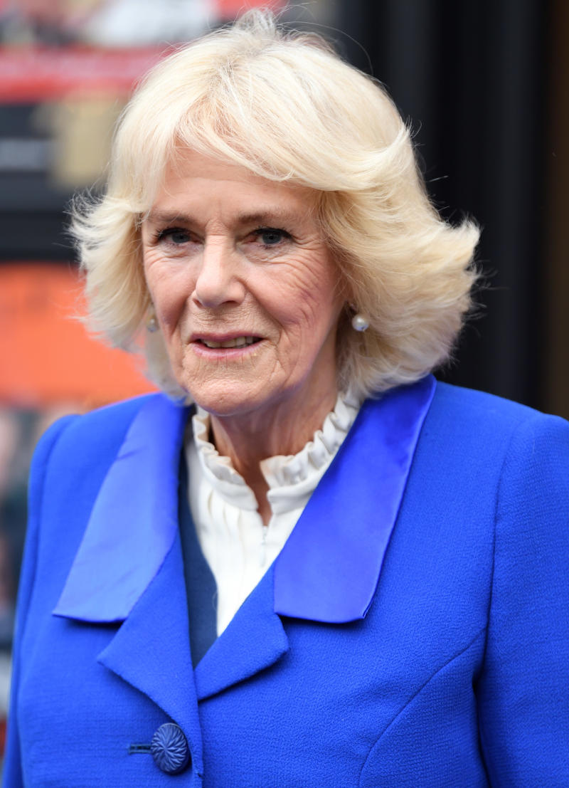 LONDON, ENGLAND - FEBRUARY 19: Camilla, Duchess of Cornwall during a visit to the Kiln Theatre in Brent, London 2020 Borough of Culture on February 19, 2020 in London, England. (Photo by Karwai Tang/WireImage)