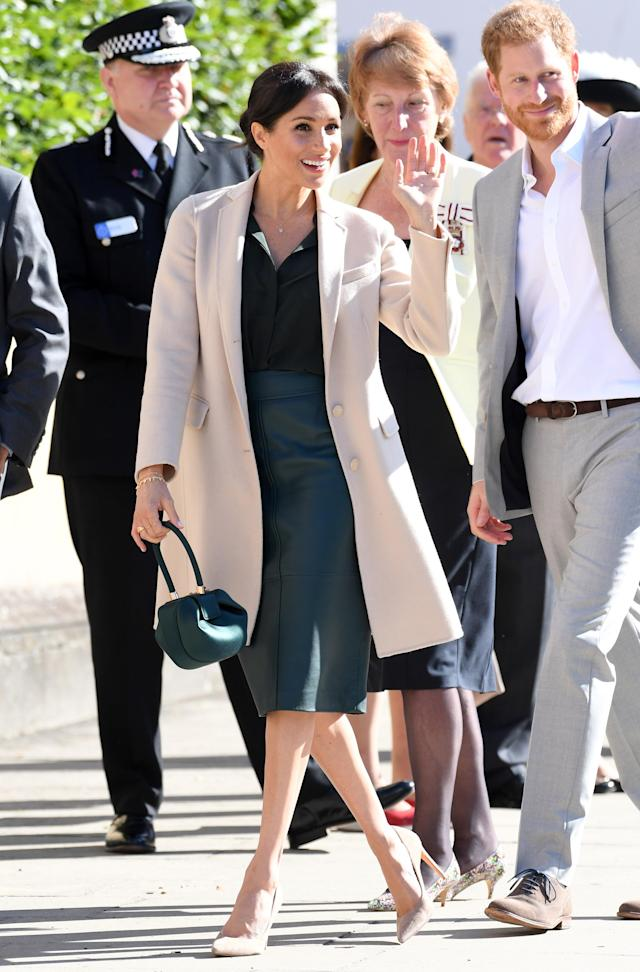 For her first trip to the namesake county of Sussex, the royal reminded the nation of her enviable fashion contacts. Meghan became one of the first to own the £1,695 'Demi' handbag from Gabriela Hearst - prompting a waiting list within minutes. It wasn't her only designer piece either, as she wore a £369 Hugo Boss skirt with a £1,699. A £69 & Other Stories shirt and her favourite Stuart Weitzman Legend pumps (worth £289) completed the look. <em>[Photo: Getty]</em>