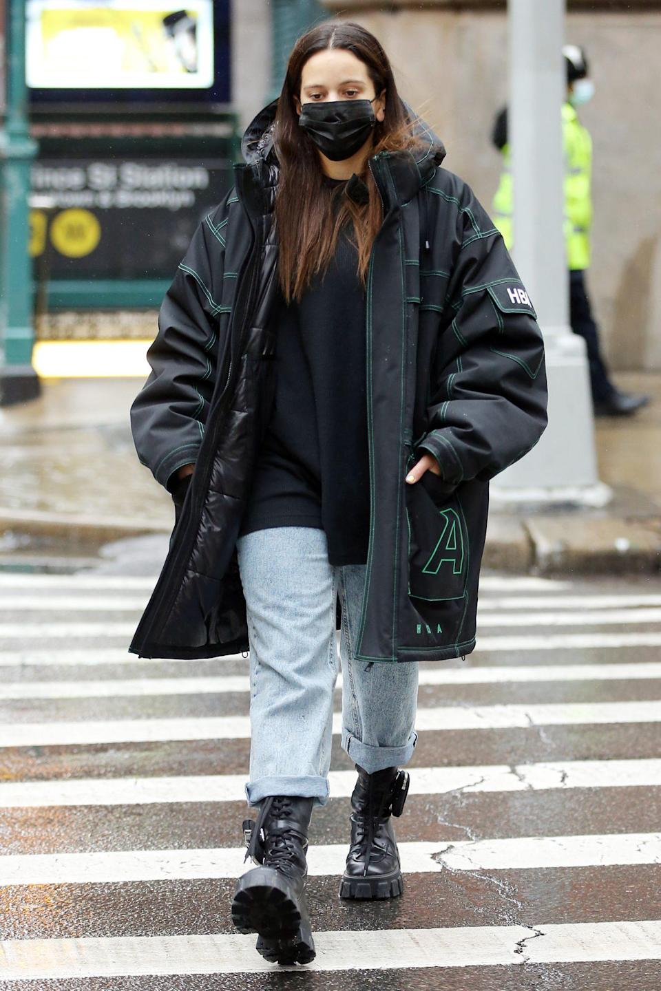 <p>Rosalía wears an oversize coat while out and about in N.Y.C. on Tuesday. </p>