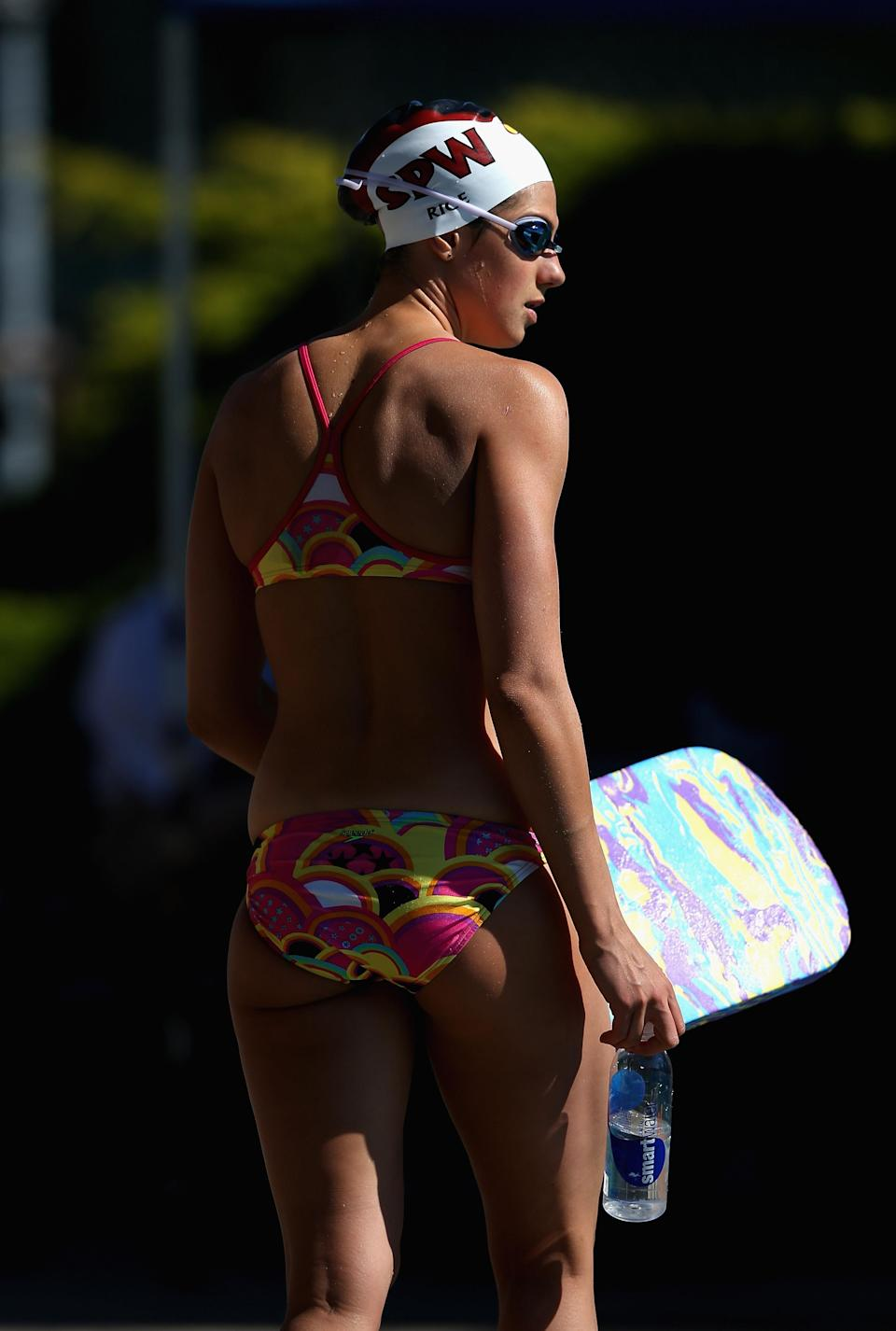 Stephanie Rice of Australia gets ready to swim in the warm up pool during day 3 of the Santa Clara International Grand Prix at George F. Haines International Swim Center on June 2, 2012 in Santa Clara, California. (Photo by Ezra Shaw/Getty Images)