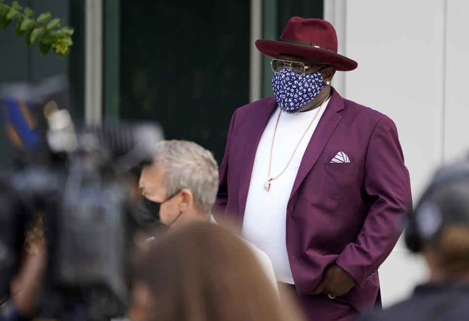 Cedric the Entertainer, host of Sunday's 73rd Primetime Emmy Awards, wears a mask as he waits to take the stage during the show's Press Preview Day, Wednesday, Sept. 14, 2021, at the Television Academy in Los Angeles. The awards show honoring excellence in American television programming will be held at the Event Deck at L.A. Live. (AP Photo/Chris Pizzello)