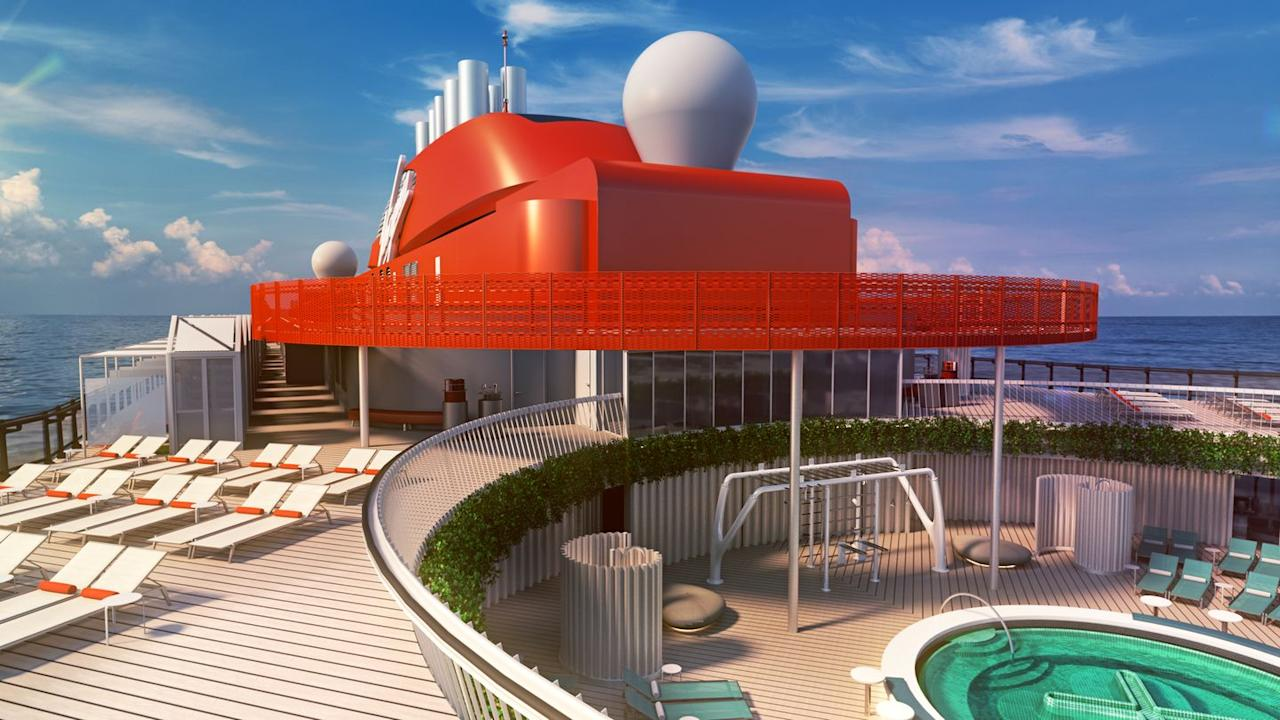 """<p>The crux of this new ship is its emphasis on well-being. """"Inspired by the oceans and their importance in the health and well-being for our planet and our daily lives,"""" the ships are designed to leave travelers feeling rejuvenated. Lounging by this pool is a good place to start.</p>"""