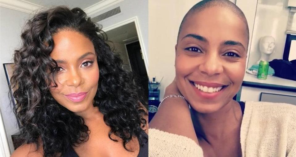 """As Lathan's film <em>Nappily Ever After</em> proved, <a href=""""https://www.glamour.com/story/nappily-ever-after-good-hair?verso=true&mbid=synd_yahoo_rss"""" rel=""""nofollow noopener"""" target=""""_blank"""" data-ylk=""""slk:hair can be so much more than just hair"""" class=""""link rapid-noclick-resp"""">hair can be so much more than just hair</a>—a lesson she personally learned after shaving hers all off for the role. """"What I really hope people take away from <em>Nappily</em> is that it's a film about falling in love with yourself but done through the vehicle of hair,"""" she <a href=""""https://www.glamour.com/story/sanaa-lathan-nappily-ever-after?verso=true&mbid=synd_yahoo_rss"""" rel=""""nofollow noopener"""" target=""""_blank"""" data-ylk=""""slk:told Glamour"""" class=""""link rapid-noclick-resp"""">told <em>Glamour</em></a>. """"For Violet, her hair evolution represents stepping outside of the box that society says you should be in and deciding who she is on her own terms. And that's something every woman should be able to do."""""""