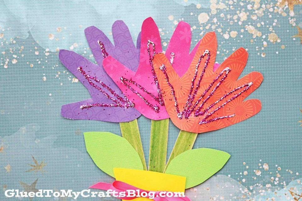 "<p>Toddlers will have fun tracing their hands for this Handprint Flower Bouquet from Glued To My Crafts, but it can also be a keepsake from everyone. Each family member can add a hand to make a full arrangement for Mom.</p><p><em><a href=""https://www.gluedtomycraftsblog.com/2017/02/handprint-flower-bouquet-kid-craft.html"" rel=""nofollow noopener"" target=""_blank"" data-ylk=""slk:Get the tutorial."" class=""link rapid-noclick-resp"">Get the tutorial.</a></em></p>"