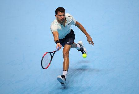 Tennis - ATP World Tour Finals - The O2 Arena, London, Britain - November 13, 2017 Bulgaria's Grigor Dimitrov in action during his group stage match against Austria's Dominic Thiem REUTERS/Hannah McKay