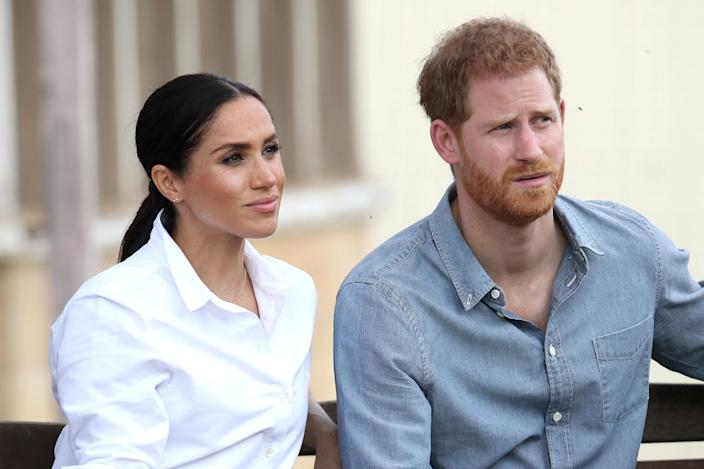 Prince Harry, Duke of Sussex and Meghan, Duchess of Sussex visit a local farming family, the Woodleys, on October 17, 2018 in Dubbo, Australia. The Duke and Duchess of Sussex are on their official 16-day Autumn tour visiting cities in Australia, Fiji, Tonga and New Zealand. Chris Jackson/Pool via REUTERS