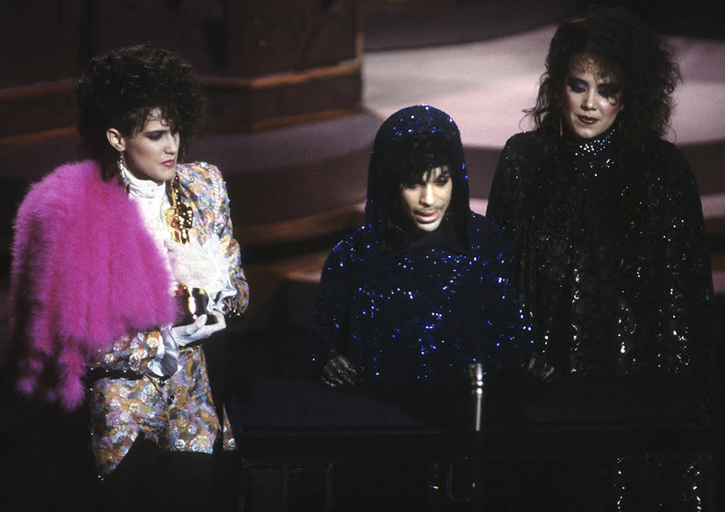 <p>Prince, seen here with Wendy Melvoin (left) and Lisa Coleman (right), took home the Oscar for Best Original Score for 'Purple Rain.'</p><p>(Credit: ABC/Getty Images)</p>