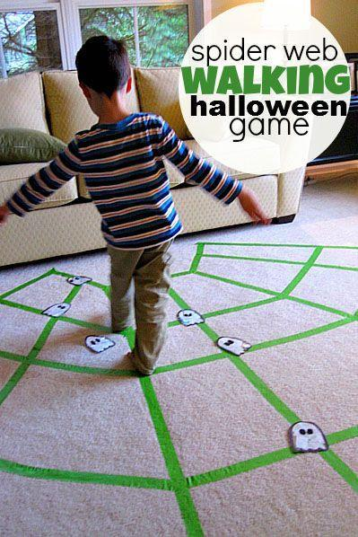 """<p>Create a spiderweb out of tape on your carpet and have kids see how long they can walk on the """"web"""" without falling off, while dodging obstacles or collecting prizes along the way.</p><p><a class=""""link rapid-noclick-resp"""" href=""""https://www.amazon.com/Colored-Available-Repairs-Multi-Purpose-Waterproof/dp/B06XT43YG2?tag=syn-yahoo-20&ascsubtag=%5Bartid%7C10055.g.2618%5Bsrc%7Cyahoo-us"""" rel=""""nofollow noopener"""" target=""""_blank"""" data-ylk=""""slk:SHOP GREEN TAPE"""">SHOP GREEN TAPE</a></p><p><em><a href=""""http://www.notimeforflashcards.com/2011/10/spider-web-gross-motor-activity.html"""" rel=""""nofollow noopener"""" target=""""_blank"""" data-ylk=""""slk:Get the tutorial at No Time For Flashcards »"""" class=""""link rapid-noclick-resp"""">Get the tutorial at No Time For Flashcards »</a></em> </p>"""
