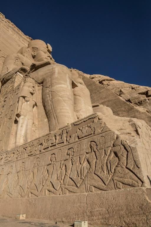 """Ancient monuments were relocated, including this giant statue at the Ramses II complex, part of the UNESCO World Heritage site known as the """"Nubian Monuments"""""""