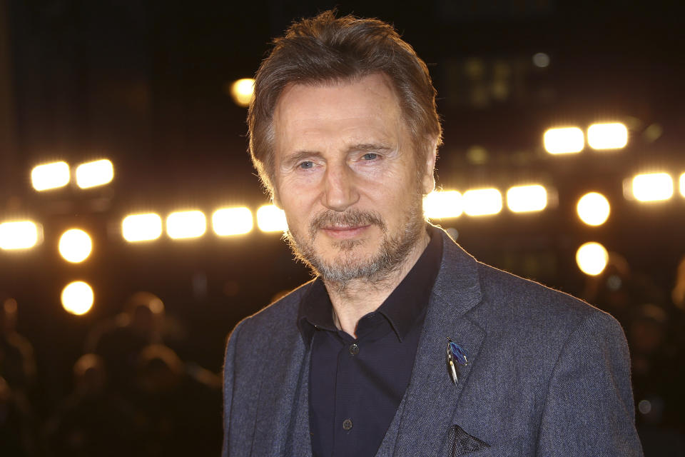 Actor Liam Neeson poses for photographers upon arrival at the premiere of White Crow at a central London cinema, Tuesday, Mar. 12, 2019. (Photo by Joel C Ryan/Invision/AP)