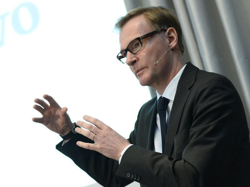 Swedish truck maker AB Volvo CEO Persson speaks during the presentation of the company results for the first quarter 2013 in Stockholm