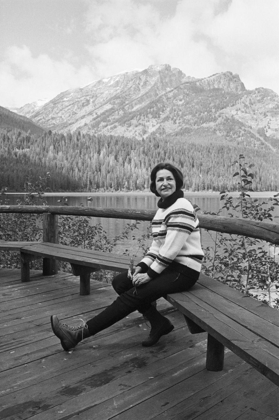 <p>Claudia Johnson wasn't necessarily into the glitz and glamour like other first ladies. Instead, she's remembered for her more casual looks, like this mountain-chic get-up she wore on a visit to Jackson Lake in Wyoming.</p>