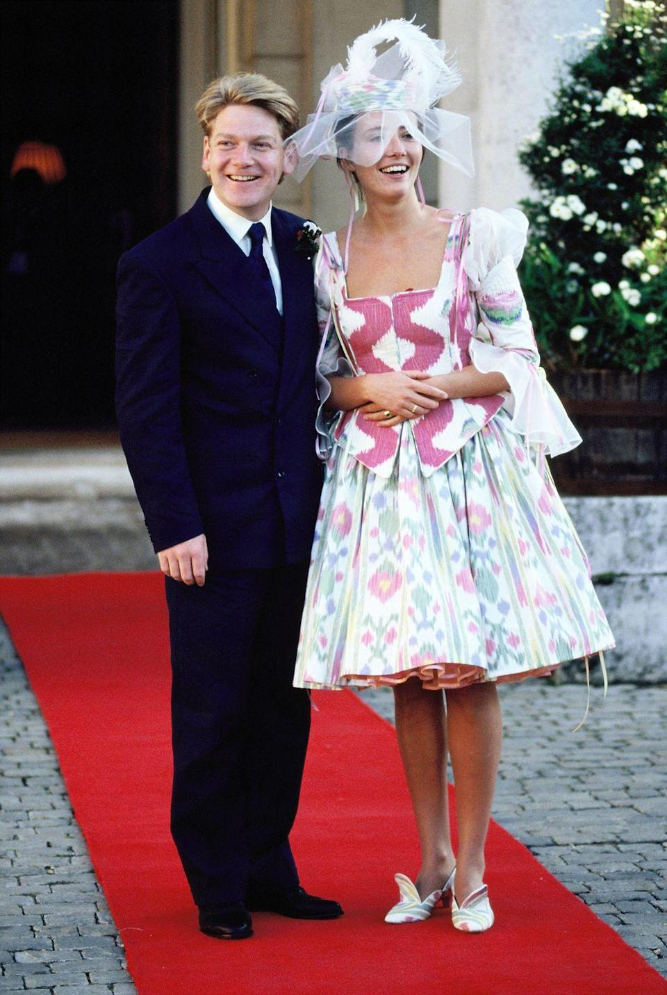 <p>Emma Thompson didn't just opt for a colour on her wedding day, she went for full multi-coloured joy when she tied the knot with Kenneth Branagh. Plus, that milkmaid dress shape is definitely back in fashion 20+ years later. Yay for the '80s.</p>
