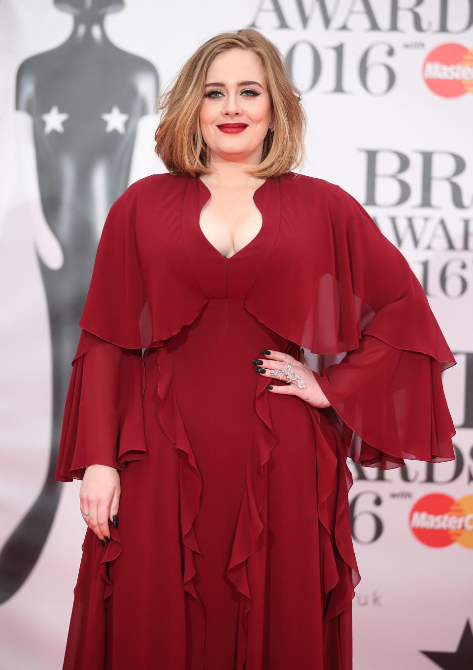 Adele attends the BRIT Awards 2016 at The O2 Arena on February 24, 2016 in London, England.