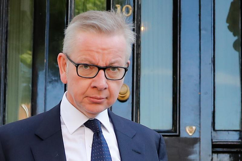 Britain's Environment, Food and Rural Affairs Secretary and Conservative leadership contender Michael Gove leaves his home in London on June 20, 2019. - Conservative MPs will decide on June 20 who will join Boris Johnson in the final two battling become Britain's next prime minister, with three contenders jostling for the second spot. (Photo by Tolga AKMEN / AFP) (Photo credit should read TOLGA AKMEN/AFP/Getty Images)