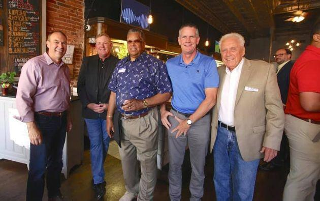 Ohio state Sen. Bob Peterson (left) chats with supporters at restaurant in Chillicothe on Wednesday. Peterson is betting that local endorsements will carry more weight than national ones. (Photo: Bob Peterson for Congress/Facebook)
