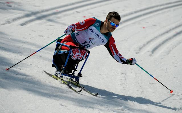 Sebastien Fortier CAN competes in the Cross-Country Skiing Sitting Men's 1.1km Sprint at the Alpensia Biathlon Centre. The Paralympic Winter Games, PyeongChang, South Korea, Wednesday 14th March 2018. OIS/IOC/Thomas Lovelock/Handout via REUTERS