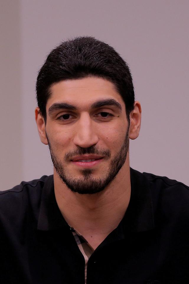 FILE PHOTO - Turkish NBA player Enes Kanter speaks about the revocation of his Turkish passport and return to the United States at National Basketball Players Association headquarters in New York, U.S. on May 22, 2017. REUTERS/Lucas Jackson/File Photo