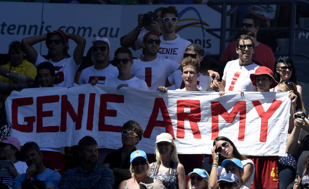 Supporters of Canada's Eugenie Bouchard watch her quarterfinal against Ana Ivanovic of Serbia at the Australian Open tennis championship in Melbourne, Australia, Tuesday, Jan. 21, 2014. (AP Photo/Andrew Brownbill)