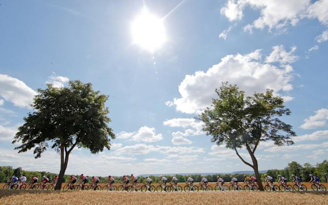 "The peloton in action at 207.5 km Stage 4 from Mondorf-les-Bains, Luxembourg to Vittel, France, during the 104th Tour de France cycling race in France, July 4, 2017. REUTERS/Christian Hartmann/File Photo SEARCH ""POY SPORT"" FOR THIS STORY. SEARCH ""REUTERS POY"" FOR ALL BEST OF 2017 PACKAGES. TPX IMAGES OF THE DAY"