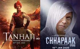 Tanhaji vs Chhapaak: Ajay Devgn's film inches closer towards Rs 150-crore mark, while Deepika's movie earning dips