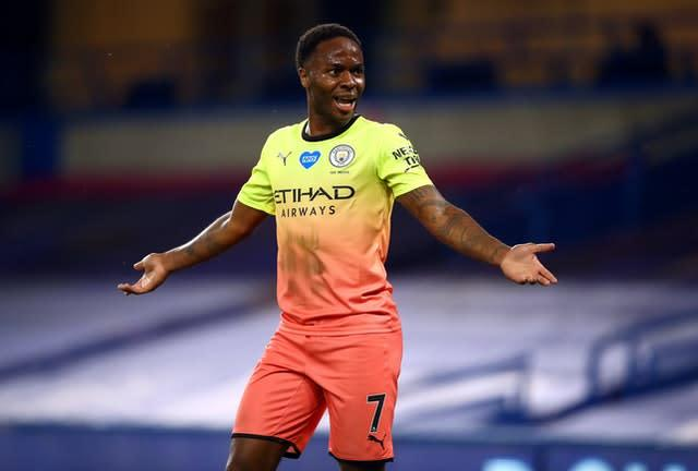 Manchester City's Raheem Sterling has questioned why there are so few black people in senior positions within football (Julian Finney/NMC Pool/PA)