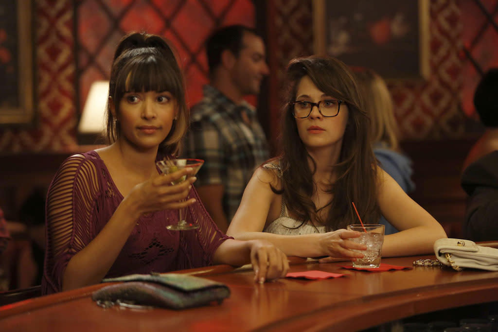 "In a flashback, Jess (Zooey Deschanel) and Cece (Hannah Simone) have a drink at the same bar at which they later would become regulars in the ""Virgins"" episode of ""New Girl."""