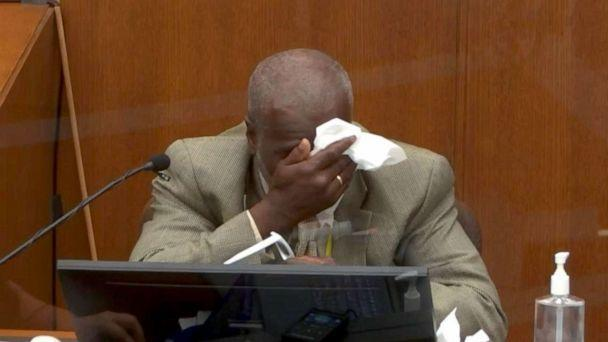 PHOTO: Witness Charles McMillian wipes his face while testifying during the second day of the trial of former Minneapolis police officer Derek Chauvin in Minneapolis, March 30, 2021 (Pool)