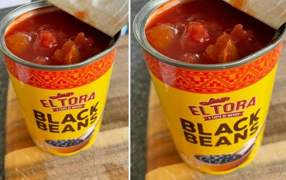 Diced tomatoes found inside tin of black beans. Source: Facebook