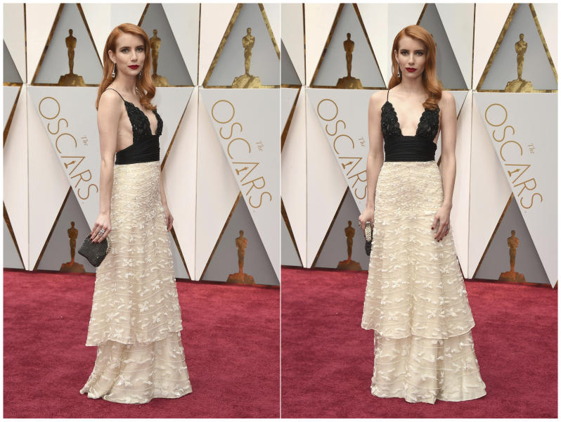 This combination photo shows actress Emma Roberts wearing vintage Armani Prive at the Oscars in Los Angeles. Many A-listers have been wearing more vintage pieces and re-wearing outfits, something unheard of among many celebrities. (Photos by Jordan Strauss/Invision/AP, File)