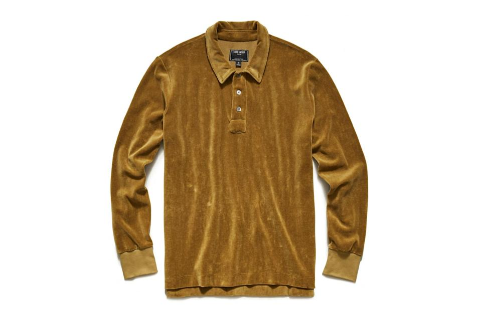 "$148, Todd Snyder. <a href=""https://www.toddsnyder.com/collections/new-arrivals/products/velour-polo-ocre"" rel=""nofollow noopener"" target=""_blank"" data-ylk=""slk:Get it now!"" class=""link rapid-noclick-resp"">Get it now!</a>"