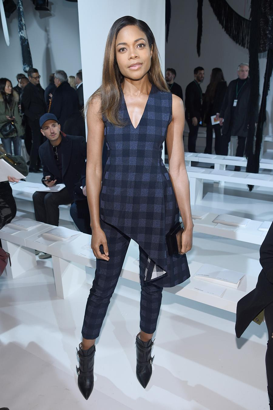 """<p><i>Moonlight</i> actress Naomie Harris wore a blue checkered ensemble to sit front row at the Calvin Klein Collection show. She later called the show """"stunning"""" on her Instagram page. (Photo: Getty Images) </p>"""