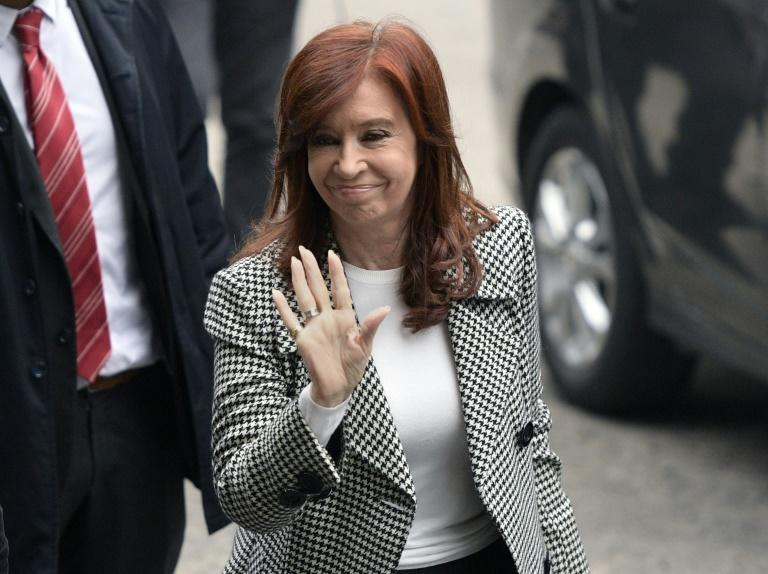 Former Argentine president Cristina Kirchner arrives in court in Buenos Aires in May 2019