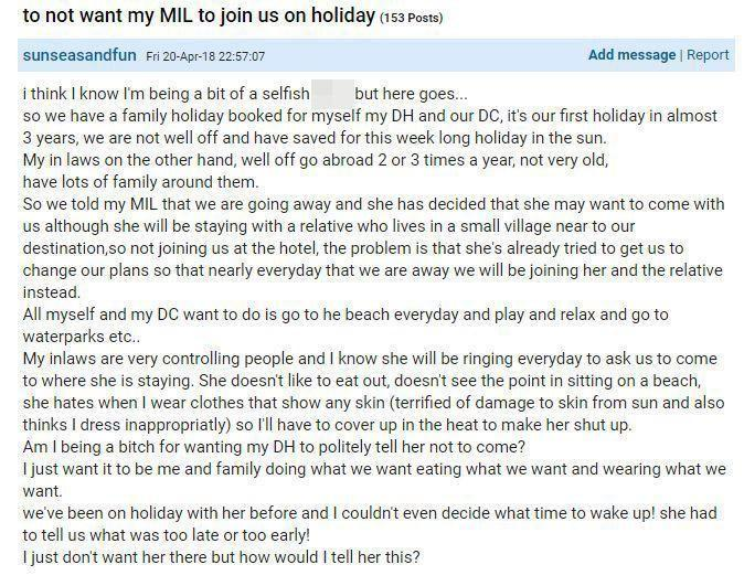 The woman took to Mumsnet to vent her frustration. Photo: Mumsnet