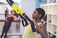 """<p>""""If I were to make a list of my top five pieces of equipment for effective home workouts, <a href=""""https://www.runnersworld.com/training/a20864761/the-10-best-trx-moves-for-runners/"""" rel=""""nofollow noopener"""" target=""""_blank"""" data-ylk=""""slk:the TRX"""" class=""""link rapid-noclick-resp"""">the TRX</a> would be my first, second, and third choice,"""" says personal trainer <a href=""""https://www.bergerontraining.com/"""" rel=""""nofollow noopener"""" target=""""_blank"""" data-ylk=""""slk:Ramsey Bergeron, C.P.T."""" class=""""link rapid-noclick-resp"""">Ramsey Bergeron, C.P.T. </a>""""Requiring nothing more than a doorway to lock the anchor in and a few feet of space, you can work out literally any muscle group at any fitness level.""""</p><p>One of these suspension trainers does tend to look like a gimmick, similar to any kind of core-workout abs builder, Bergeron admits. But it's worth the hype. </p><p>When COVID-19 hit and he moved workouts to a nearby park and then his backyard, he often found himself taking only the TRX since it was all he needed. He even makes his clients take them on trips. </p><p>""""The only downside for those workout out at home is that it's not as intuitive for a beginner as other types of equipment,"""" he says. """"It may require a trainer to show you how to maximize its usage. But for getting started, there are thousands of <a href=""""https://www.youtube.com/results?search_query=beginner+trx+how+to"""" rel=""""nofollow noopener"""" target=""""_blank"""" data-ylk=""""slk:YouTube videos"""" class=""""link rapid-noclick-resp"""">YouTube videos</a> that can help you with the basics.""""</p><p><a class=""""link rapid-noclick-resp"""" href=""""https://www.amazon.com/TRX-Suspension-Training-System-Travel/dp/B01LXL27XI/ref=sr_1_1_sspa?tag=syn-yahoo-20&ascsubtag=%5Bartid%7C2142.g.34360831%5Bsrc%7Cyahoo-us"""" rel=""""nofollow noopener"""" target=""""_blank"""" data-ylk=""""slk:Buy a TRX Home Suspension Training Kit Here"""">Buy a TRX Home Suspension Training Kit Here</a></p>"""