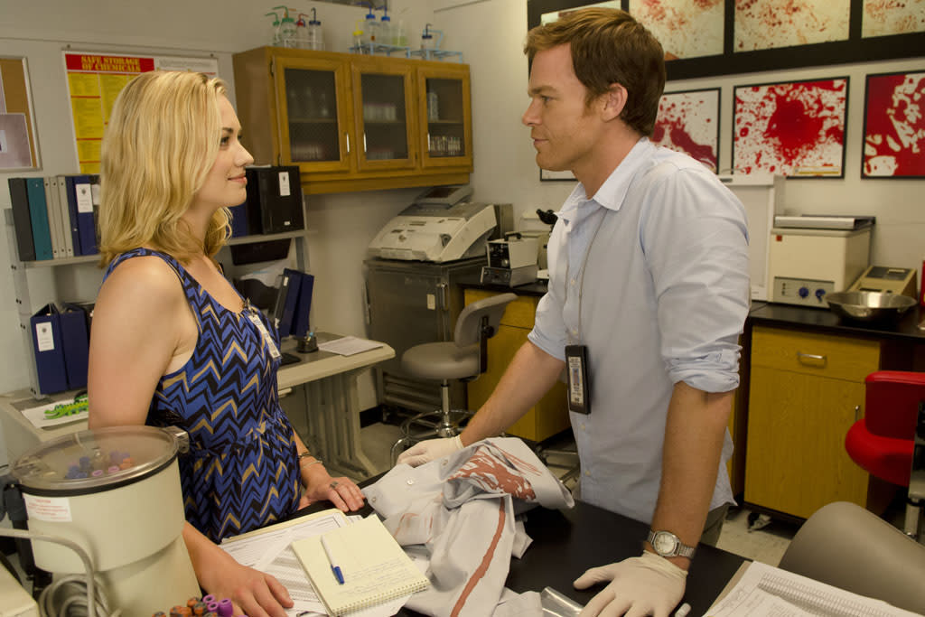 "Yvonne Strahovski as Hannah McKay and Michael C. Hall as Dexter in the ""Dexter"" episode, ""Run."""