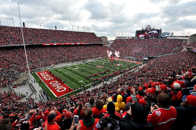 "COLUMBUS, OH – NOVEMBER 26: A general view of Ohio Stadium prior to the game between the <a class=""link rapid-noclick-resp"" href=""/ncaaf/teams/mmk"" data-ylk=""slk:Michigan Wolverines"">Michigan Wolverines</a> and <a class=""link rapid-noclick-resp"" href=""/ncaaf/teams/oob"" data-ylk=""slk:Ohio State Buckeyes"">Ohio State Buckeyes</a> on November 26, 2016 in Columbus, Ohio. (Photo by Jamie Sabau/Getty Images)"