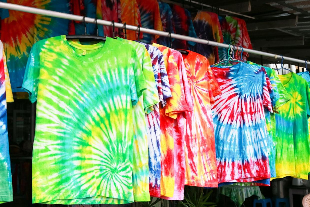 Row of tie-dyed t-shirts