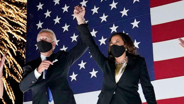 PHOTO: Democratic presidential candidate former Vice President Joe Biden and his running mate Sen. Kamala Harris, celebrate with fireworks during the fourth day of the Democratic National Convention, Aug. 20, 2020, at the Chase Center in Wilmington, Del. (Andrew Harnik/AP)