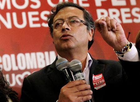 Colombian presidential candidate Gustavo Petro speaks to supporters from the Liberal Party during a meeting at a hotel in Bogota