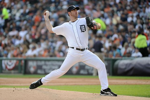 DETROIT, MI - OCTOBER 13: Justin Verlander #35 of the Detroit Tigers throws a pitch against the Detroit Tigers in Game Five of the American League Championship Series at Comerica Park on October 13, 2011 in Detroit, Michigan. (Photo by Harry How/Getty Images)