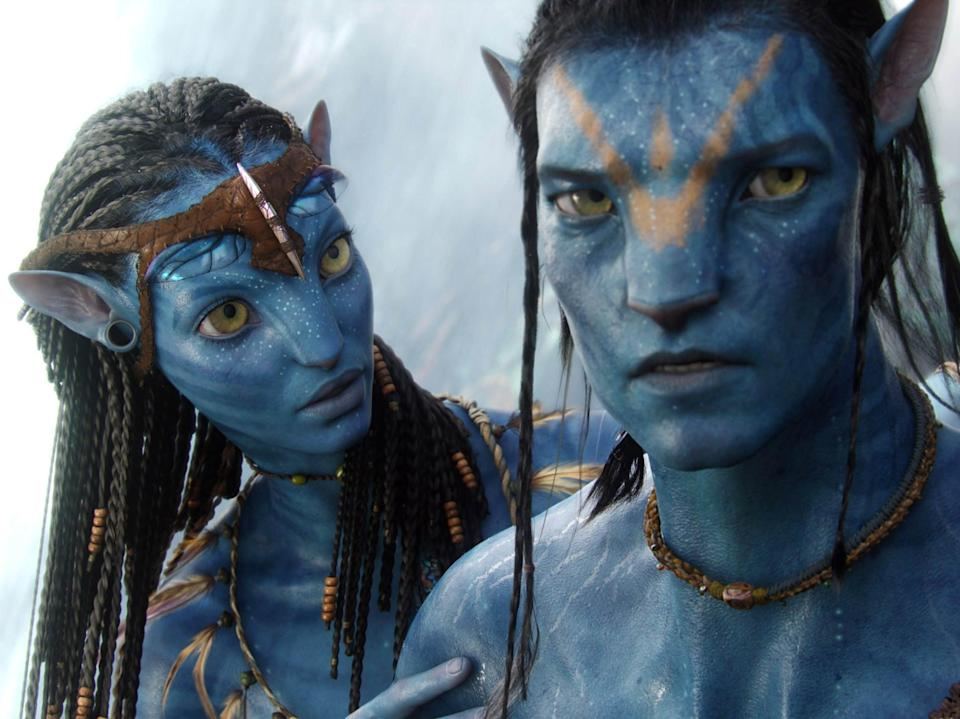 Neytiri (Zoë Saldana) and Jake (Sam Worthington) in Avatar (Courtesy Twentieth Century Fox)