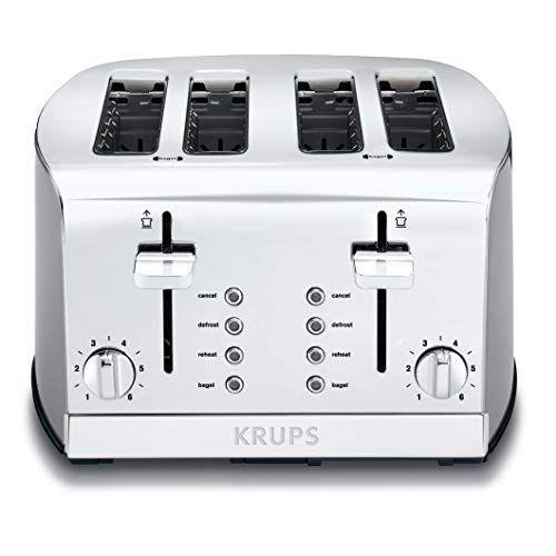 """<p><strong>KRUPS</strong></p><p>amazon.com</p><p><strong>$83.22</strong></p><p><a href=""""https://www.amazon.com/dp/B0083VCY16?tag=syn-yahoo-20&ascsubtag=%5Bartid%7C10055.g.4921%5Bsrc%7Cyahoo-us"""" rel=""""nofollow noopener"""" target=""""_blank"""" data-ylk=""""slk:Shop Now"""" class=""""link rapid-noclick-resp"""">Shop Now</a></p><p>The black and stainless steel model can be depended on for toasting everything from a barely brown white slice of toast to dark rye toast. It's great for entertaining, too — not only can it toast up to four slices at once, but if there's a crowd at the table, it <strong>will pop up slice after slice to the same degree of doneness without burning by the second or third batch</strong>.</p>"""