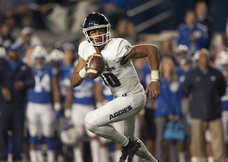 Utah State QB Jordan Love is starting to gain a lot of support among NFL scouts. (Getty Images)